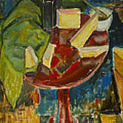 Red Table Top Still Life Poster