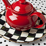 Red Teapot On Checkerboard Plate Poster