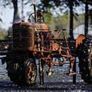 Red Tractor Fountain Poster