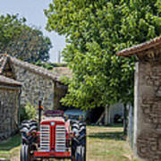 Red Tractor On A French Farm Poster