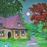 Red Tree Cottage At Dusk Poster