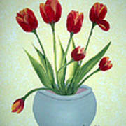 Red Tulips In A Pot Poster