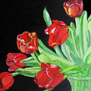 Red Tulips In Vase Poster