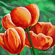 Red Tulips On Green Poster