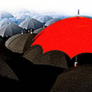 Red Umbrella In The City Poster
