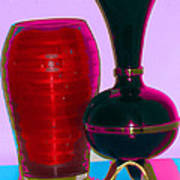 Red Vase And Black Vase Poster by Good Taste Art