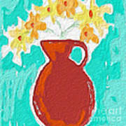 Red Vase Of Flowers Poster