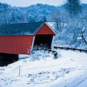 Red Vermont Covered Bridge Poster