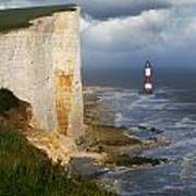 White Cliffs And Red-white Striped Lightouse In The Sea Poster