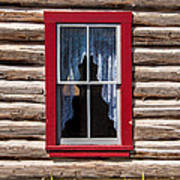 Red Window Log Cabin - Idaho Poster
