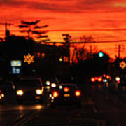 Red Winter Sunset Over Long Island Suburbs Poster