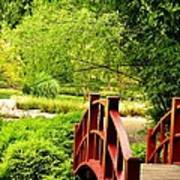 Red Wooden Bridge Poster