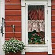 Red Wooden House With Plants In And By Poster