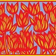Red Yellow Blue Art Print Botanical Drawing Flowers Line Drawing Flower Botanical Print Art Botan Poster