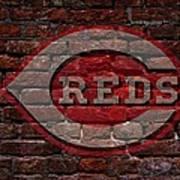 Reds Baseball Graffiti On Brick  Poster