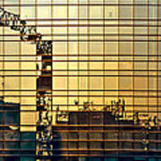 Reflected Cranes At Sunset Poster