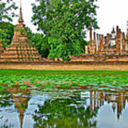 Reflecting Pool At Wat Mahathat In 13th Century Sukhothai Historical Park-thailand Poster
