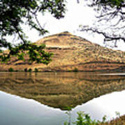 Reflection Of Butte Across From Lepage Rv Park Into Columbia River-oregon Poster