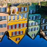Reflection Of Colorful Houses In Neckar River Tuebingen Germany Poster