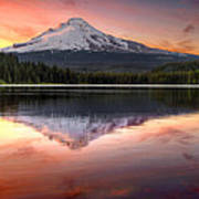 Reflection Of Mount Hood On Trillium Lake At Sunset Poster