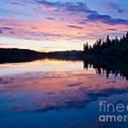 Reflection Of Sunset Sky On Calm Surface Of Pond Poster