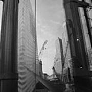 Reflections At The 9/11 Museum In Black And White Poster