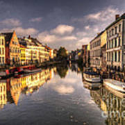 Reflections Over Ghent Poster