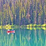 Reflective Fishing On Emerald Lake In Yoho National Park-british Columbia-canada  Poster