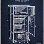 Refrigerator Patent From 1901 - Navy Blue Poster