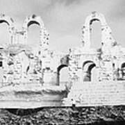 Remains Of Upper Tiers Of The Old Roman Colloseum At El Jem Tunisia Poster