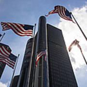 American Flags And Renaissance Center Poster