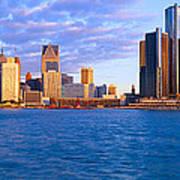 Renaissance Center, Detroit, Sunrise Poster