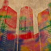 Renaissance Center Iconic Buildings Of Detroit Watercolor On Worn Canvas Series Number 2 Poster