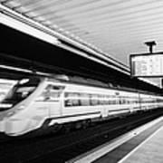 renfe civia train speeding through passeig de gracia underground main line train station Barcelona C Poster