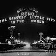 Reno Nevada The Biggest Little City In The World. The Arch Spans Virginia Street Circa 1936 Poster
