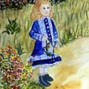 Renoir Girl With Watering Can In Watercolor Poster