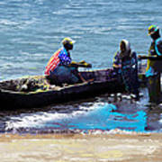 Repairing The Net At Lake Victoria Poster