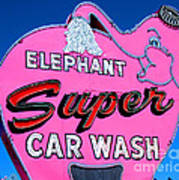 Elephant Super Car Wash Sign Seattle Washington Poster