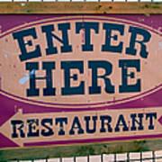 Restaurant Sign Color Poster