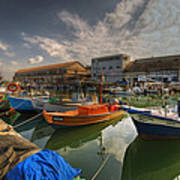 resting boats at the Jaffa port Poster