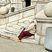 Resting On The Steps Of City Hall Poster