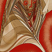 Resting Woman - Portrait In Red Poster