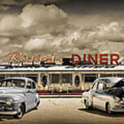 Retro Photo Of Historic Rosie's Diner With Vintage Automobiles Poster