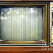 Retro Style Television Set With Bad Picture Poster