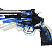 Revolver On White - Left Facing Poster by Michael Tompsett