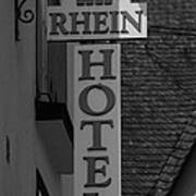 Rhine Hotel St Martin Sign Bw Poster