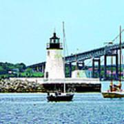 Rhode Island - Lighthouse Bridge And Boats Newport Ri Poster