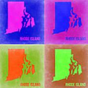 Rhode Island Pop Art Map 2 Poster