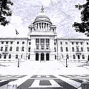 Rhode Island State House Bw Poster