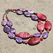 Rhodonite And Crazy Lace Agate Double Strand Chunky Necklace 3636 Poster